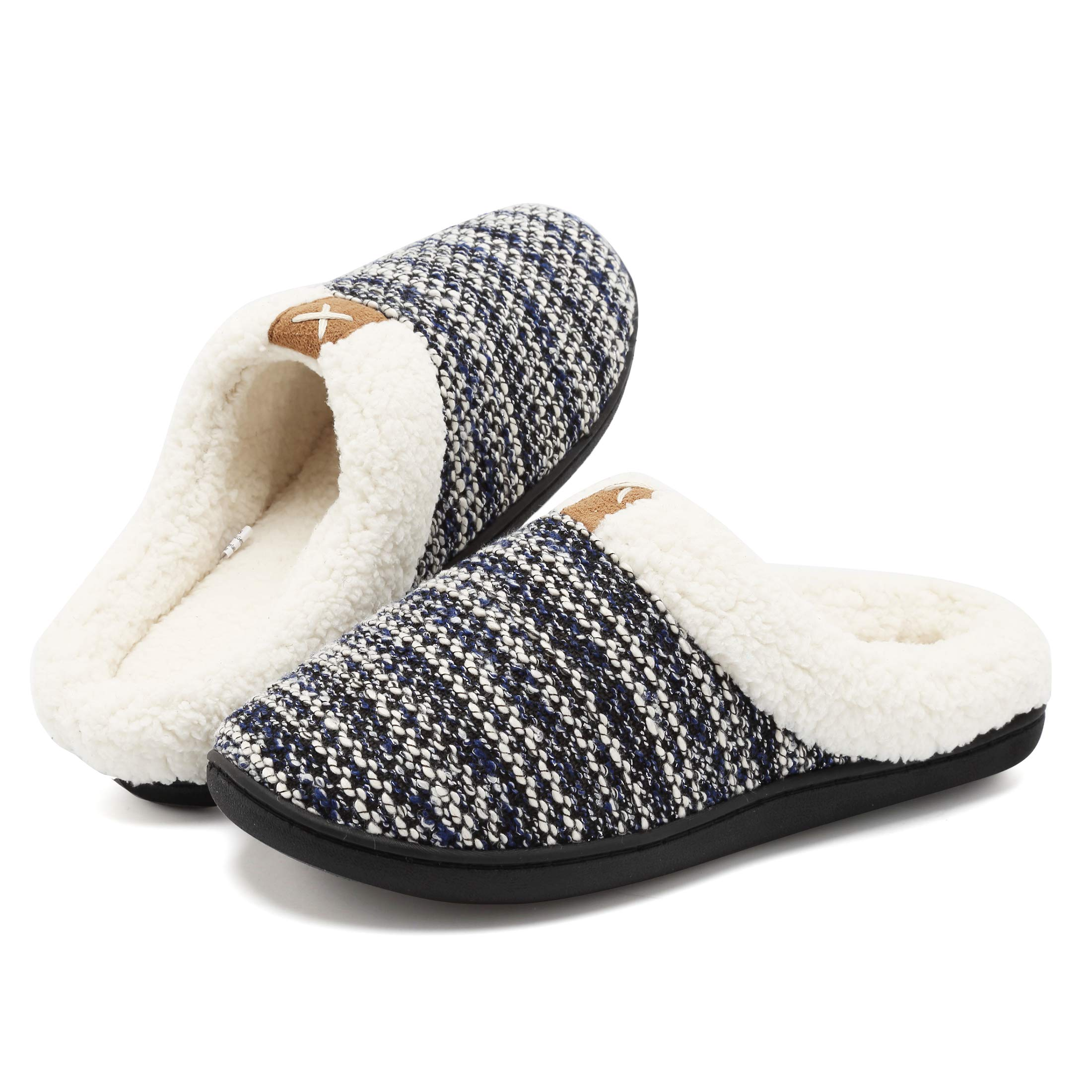 FCKEE Women's Comfort Memory Foam Slippers Knitted Upper Wool-Like Plush Lined House Shoes Indoor Outdoor, Anti-Skid TPR Sole,USFMT04-Navy-42/43