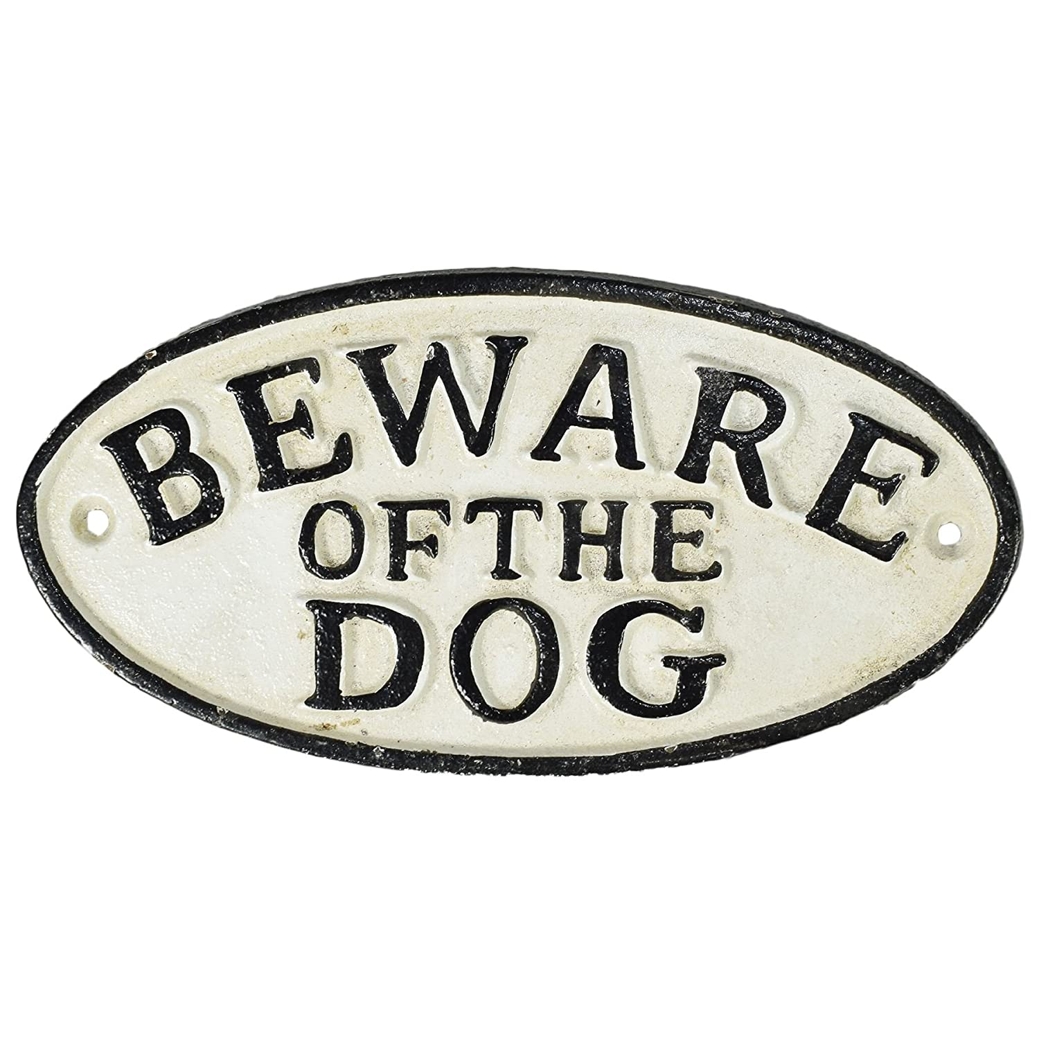 """Beware of Dog"" Cast Iron Sign Plaque Door Wall House Fence Gate Post Garden AB Tools"