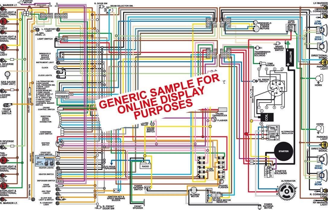 amazon.com: full color laminated wiring diagram fits 1970 1971 chevy  chevelle & el camino (standard dash without gauges) color wiring diagram  18