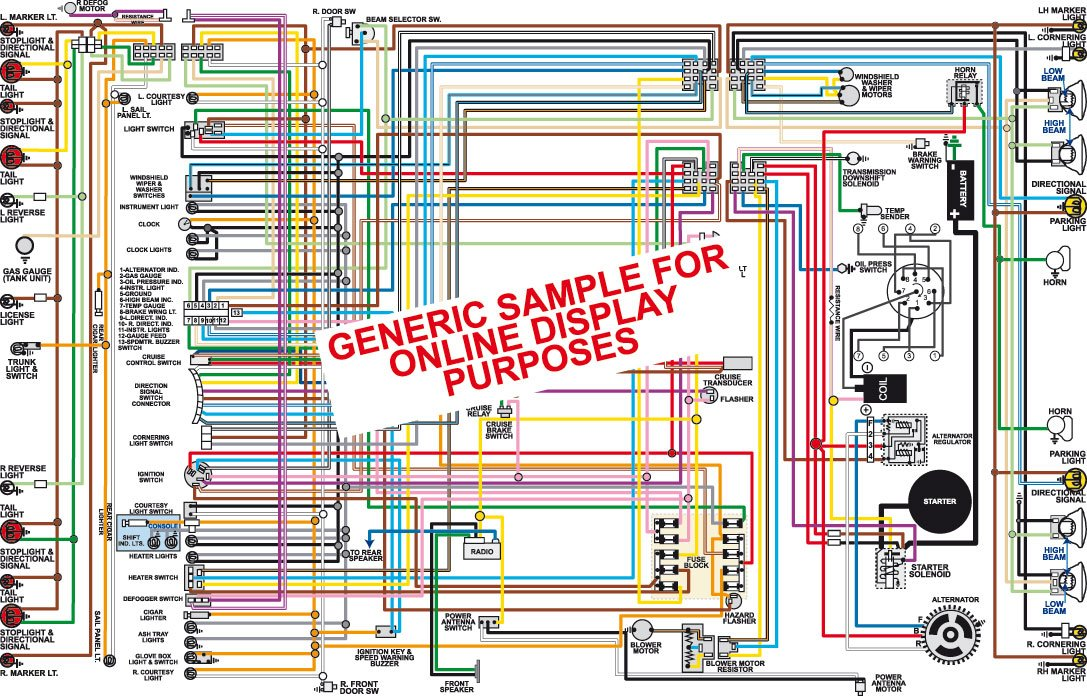 Full Color Laminated Wiring Diagram FITS 1968 AMC AMX & Javelin Color on