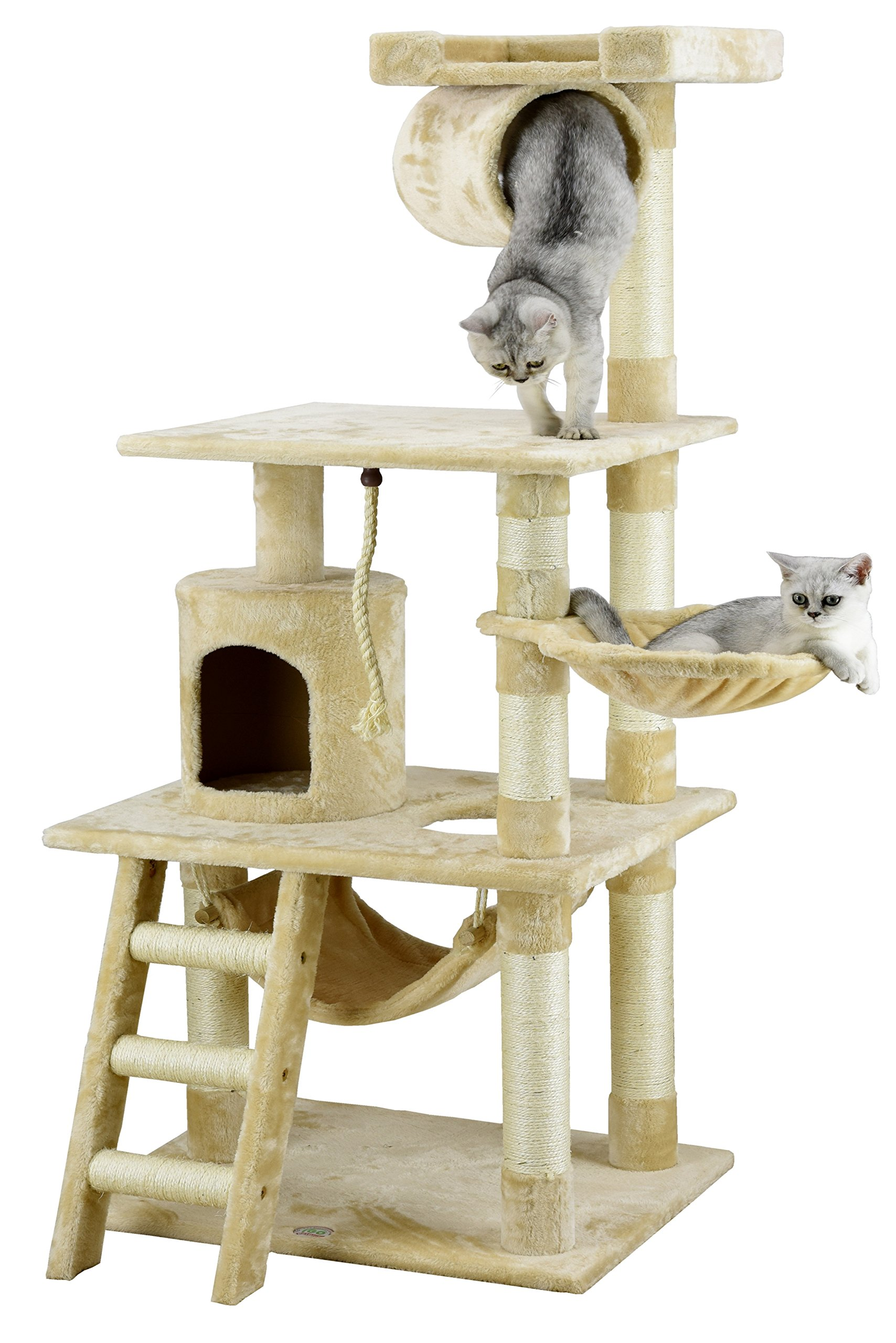 Go Pet Club 62'' Cat Tree Condo Furniture Beige Color