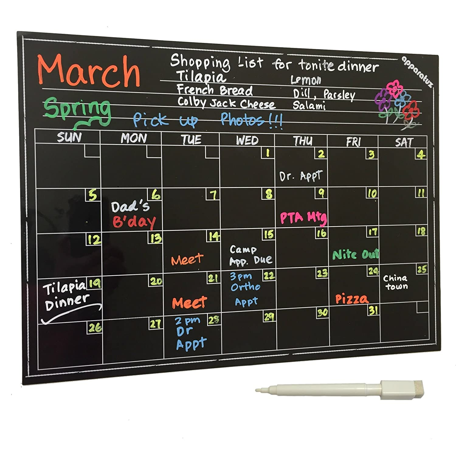Magnetic Chalkboard Calendar - Smart Dry Erase Board For Your Refrigerator, Kitchen & Office. Stylish Black Monthly Design Planner For All Your Kids Activities + 1 White Liquid Chalk Marker (16x12) apparatuz MC1612