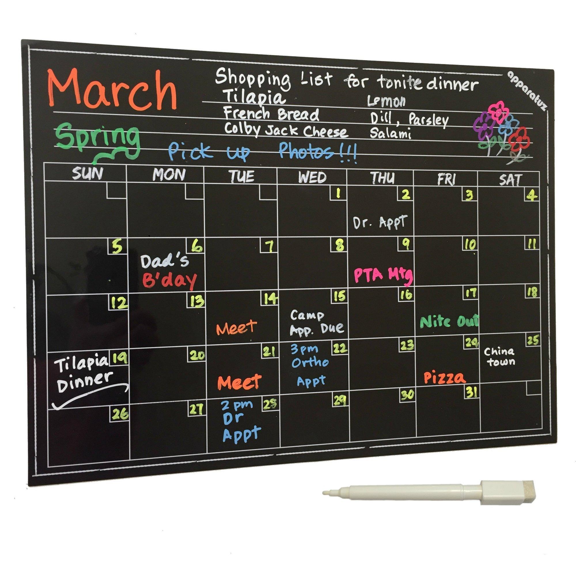 Flash Sale - Magnetic Calendar for Refrigerator, Dry Erase Chalkboard Magnet, Erasable Black Board Monthly Planner Chart for Kids, Fridge, Kitchen & Office. Best Stick On Dorm Accessories Gifts by apparatuz