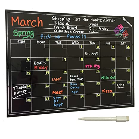Amazon.com: Calendario de pared – Gran calcomanía de pizarra ...