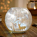 LED Lit Christmas Bowl Vase Decoration with Deer Snowscene - (16cm)
