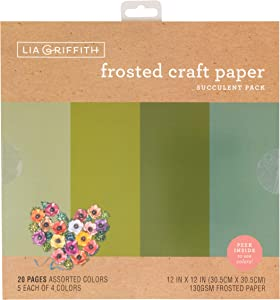 "Lia Griffith Frosted Craft Paper, 12"" x 12"", Succulent Pack 20 Sheets"