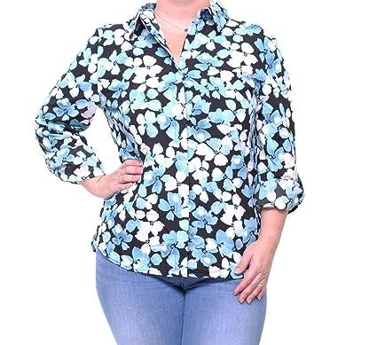 e50d1e15 Tommy Hilfiger Women's Printed Roll-Tab Shirt at Amazon Women's ...