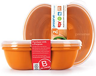 product image for Preserve Square Food Storage Container Made from Recycled Plastic, 25 Ounce Capacity, Set of 2, Orange