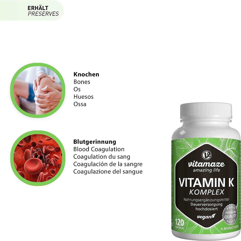 Vitamina K Complejo de Alta Dosis y Vegano, K1 1.000 mcg + K2 Menaquinona (1.000 mcg MK4 + 200 mcg MK7), 120 Cápsulas Durante 4 Meses, Mejor ...
