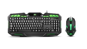 BG-Gaming Ranger Force - Pack Teclado y ratón, Color Negro y Verde