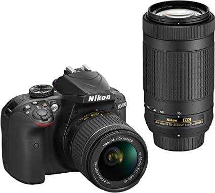 Nikon D3400 Digital Camera Kit (Black) with Lens AF-P DX Nikkor 18-55mm,  70-300mm f/4 5-6 3G ED VR Lens, 16 GB Class 10 SD Card and DSLR Bag