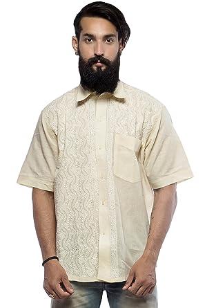 Bds Chikan Cotton Light Lemon Shirt For Men With White Thread Chikan Work Bds00268