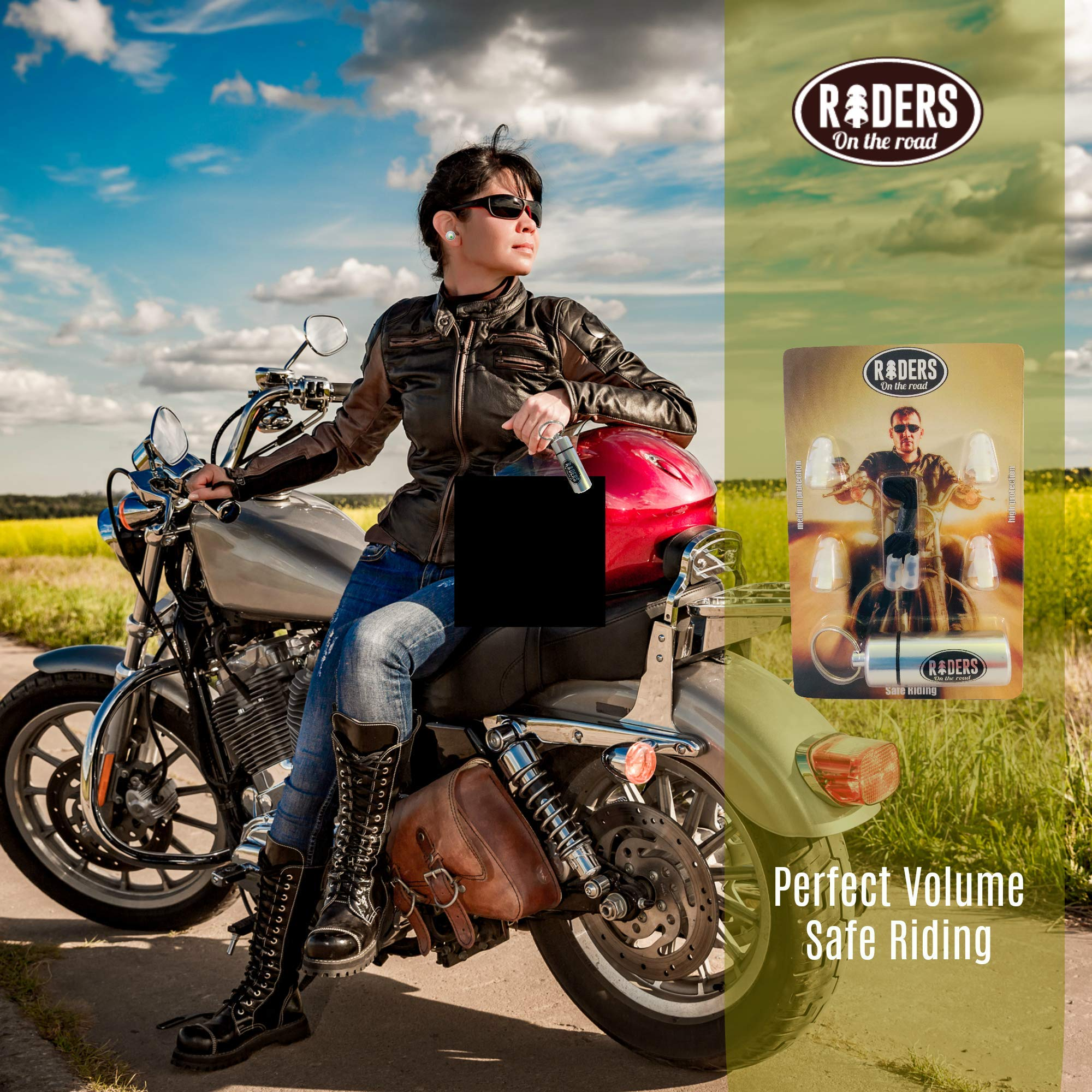 Motorcycle, Musician & Concert Ear Plugs For Noise Reduction With Keychain Carry Case - Earplugs Filtered Hearing Protection by Rider (Image #4)