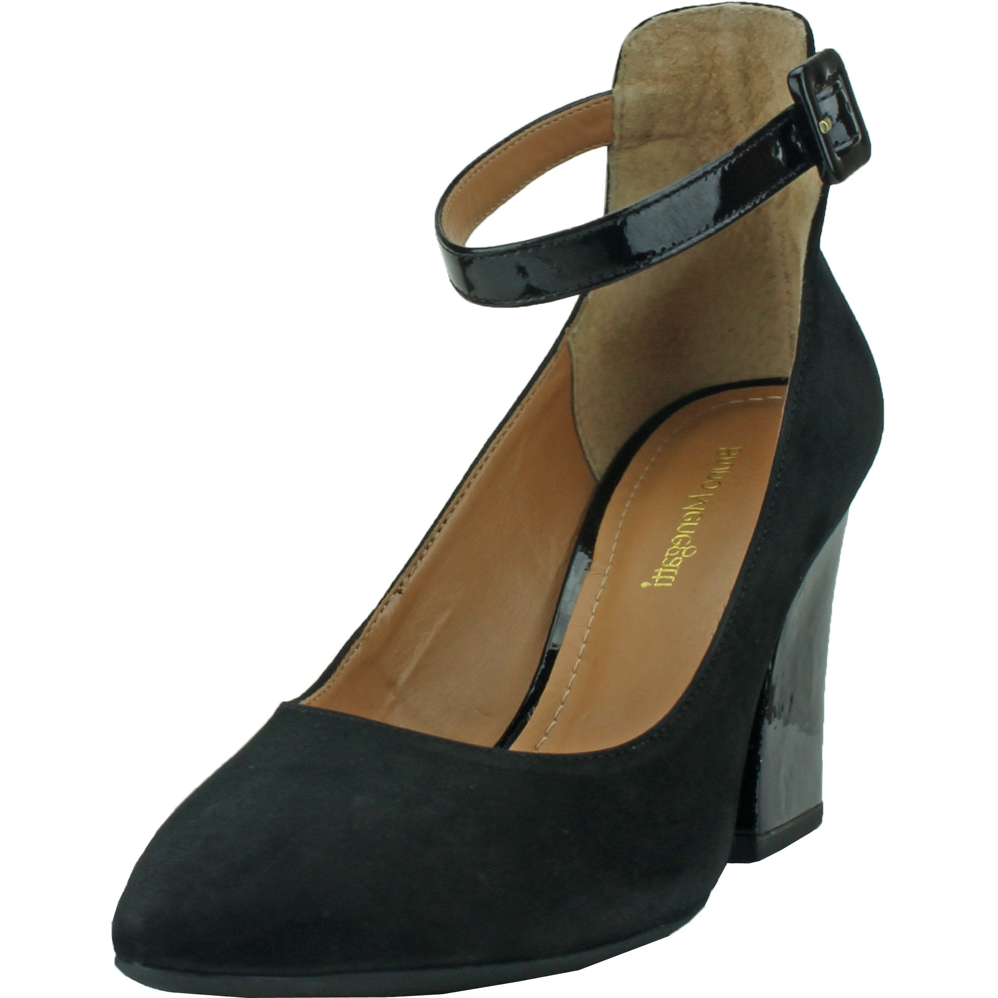 Bruno Menegatti Bernice-Dress Pump Leather Nubuck Black Patient Heel 8 US by Bruno Menegatti