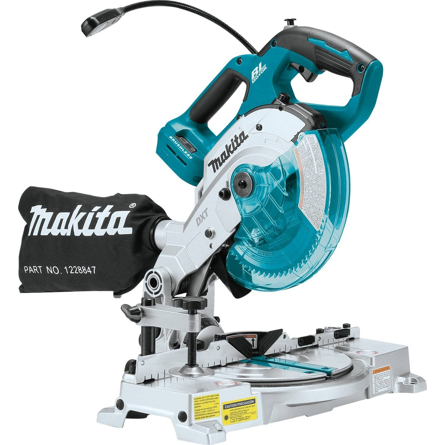 Makita XSL05Z 18V LXT Lithium-Ion Brushless Cordless 6-1 2 COMPACT Dual-Bevel Compound Miter Saw with Laser, TOOL Only