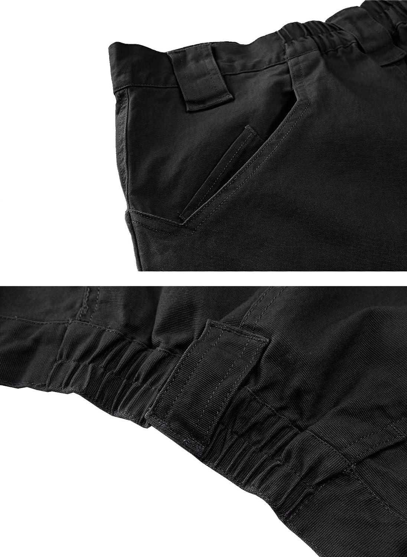 TACVASEN Men's Cargo Combat Work Trousers Military Outdoor Pants with Zip Pockets Black