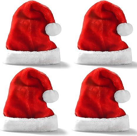 JOYIN 4 Pack Sombreros de Navidad Gorros Rojos de Papá Noel de Navidad de Felpa Corta para niños y Adultos Suministros para Fiestas navideñas: Amazon.es: Juguetes y juegos