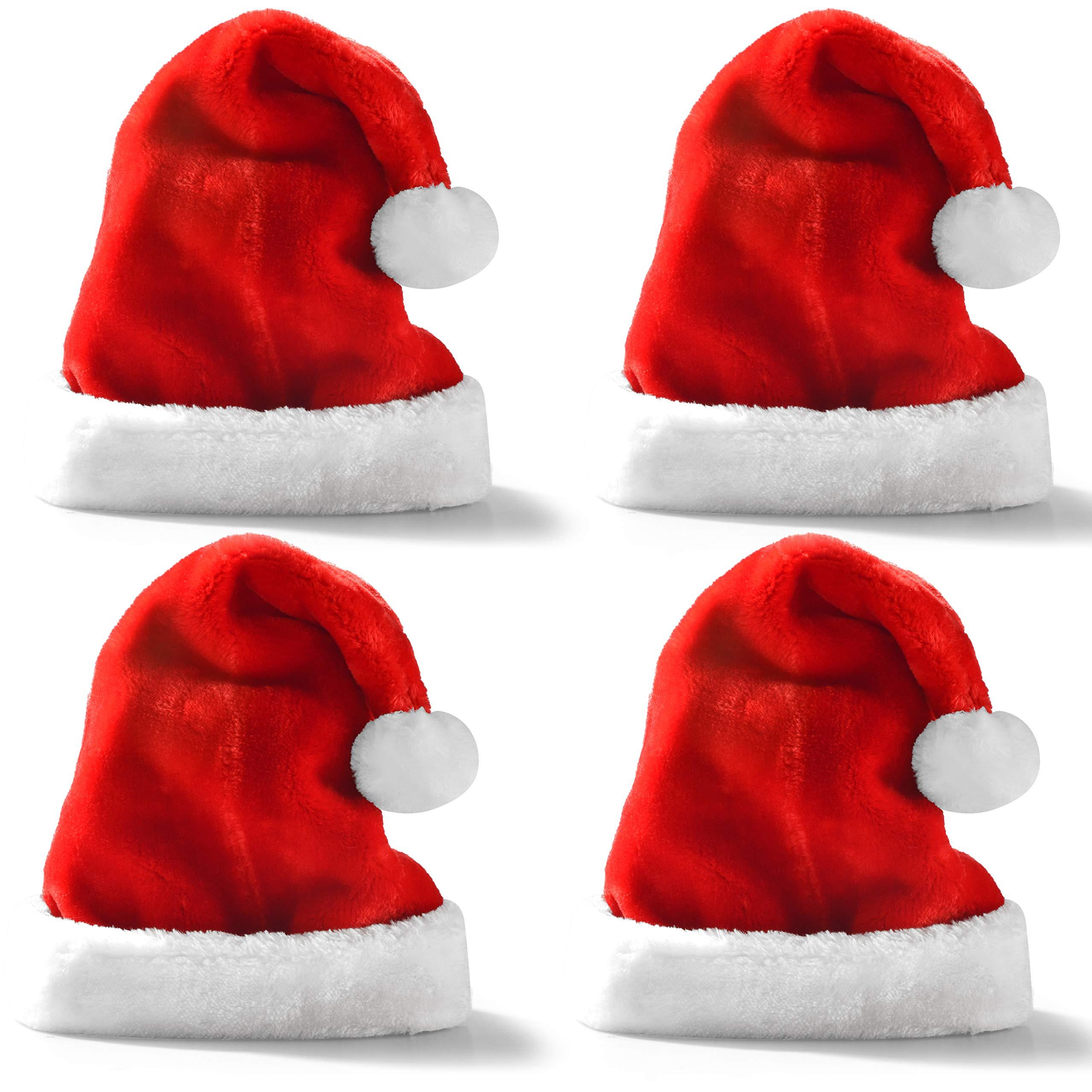 Premium Santa Hats (4 Pack), Plush Red Velvet Christmas Hats with White Cuffs by JOYIN
