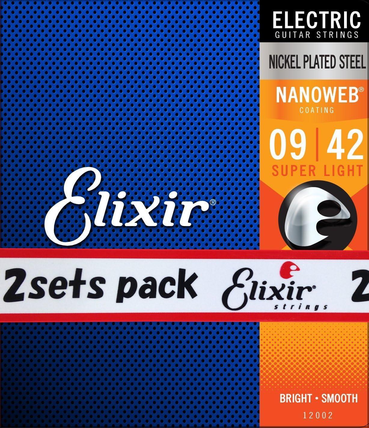 Lite Elixir Nanoweb Electric Guitar Strings 3 Pack Super Light