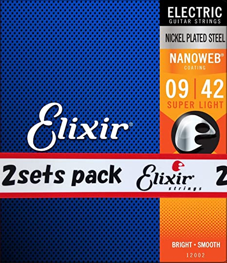 Elixir Super luz Nanoweb cuerdas para guitarra eléctrica 2 unidades (estándar)
