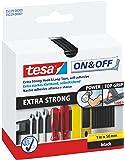 tesa On & Off Klettband Extra Stark/Selbstklebender Klettverschluss zum Fixieren und Befestigen/1 m x 50 mm