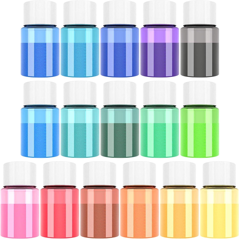 Pigmento de Resina Epoxi - 16 Colores x 10g Mica en polvo Tinte de Resina Epoxi - Colorante de Limo de Grado Cosmético para Fabricación de Jabón Bomba ...