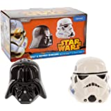Star Wars SW00696 Darth Vader and Stormtrooper Helmet Salt and Pepper Shakers, Black and White
