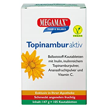 Megamax - Topinambur - Comprimidos masticables con fibra alimentaria inulina - Elaborado a partir de tupinambo - Sabor a piña - 105 unidades (147 g): ...