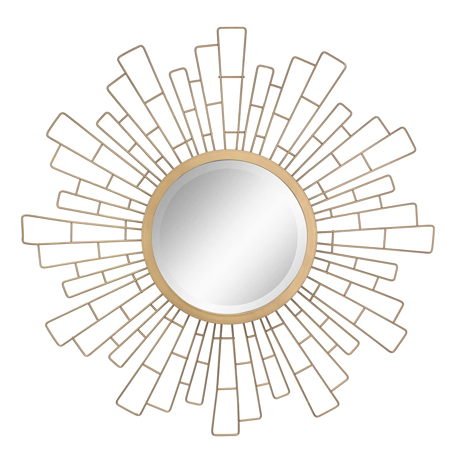 Stonebriar Round Decorative Antique Gold 23 Geometric Metal Sunburst Hanging Mirror Wall, Modern Boho Decor The Living Room, Bathroom, Bedroom Entryway CKK Home Decor SB-6140A
