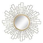 Stonebriar - Espejo Decorativo Redondo para Pared de Metal geométrico Sunburst de 58,42 cm, diseño de Bohemio Moderno...