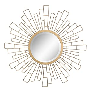 "Stonebriar Round Decorative Antique Gold 23"" Geometric Metal Sunburst Hanging Mirror for Wall, Modern Boho Decor for the Living Room, Bathroom, Bedroom, and Entryway"