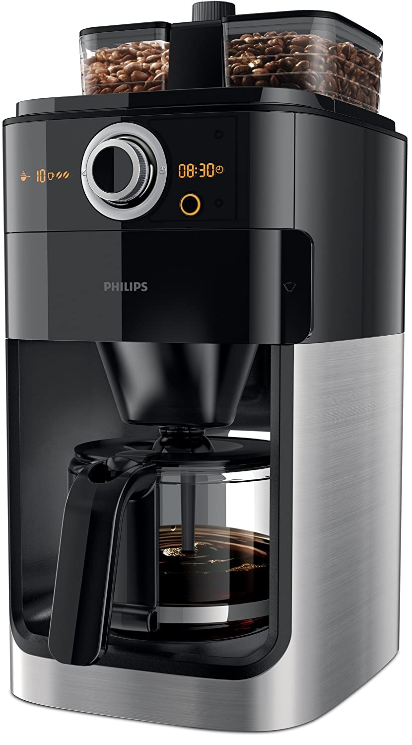 Philips Grind & Brew HD7766 - coffee makers (Freestanding, Ground coffee, Coffee beans, Coffee, Black, Stainless steel, Plastic, Stainless steel, LCD) HD7766/00