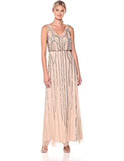 1a2f2b1c4f0 Amazon.com  Adrianna Papell Women s Long Beaded Blouson Gown  Clothing