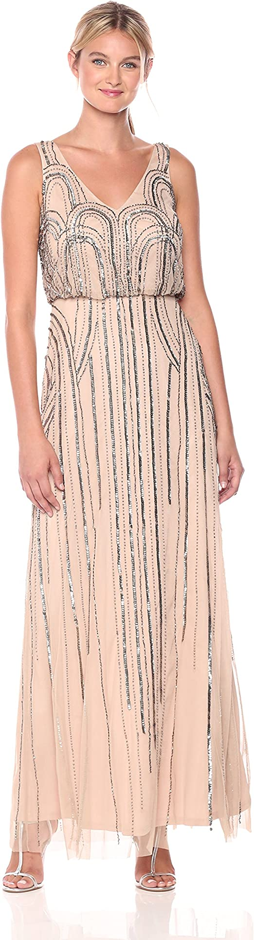 Adrianna Papell Womens Long Beaded VNeck Dress With Cap