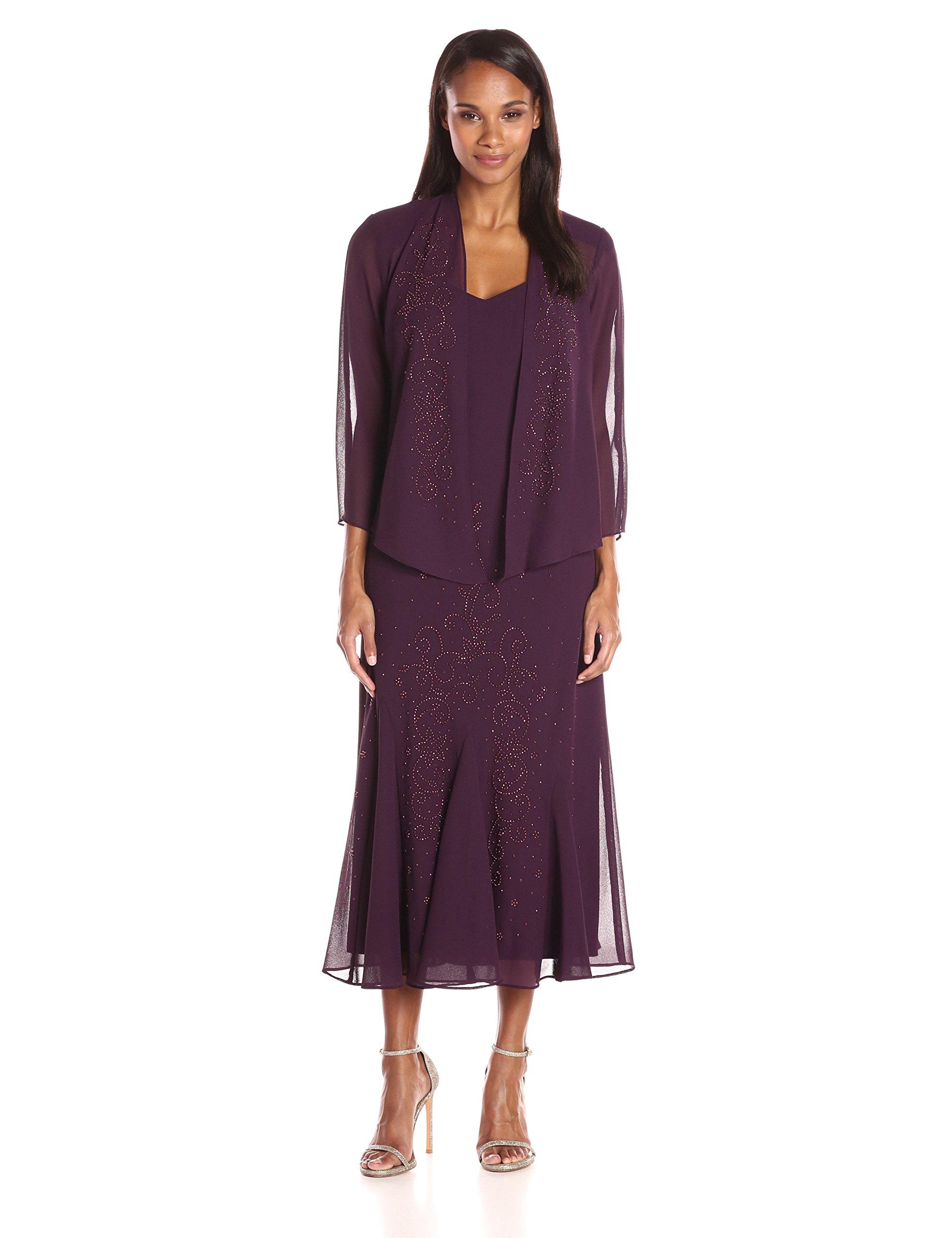 R&M Richards Women's Beaded Chiffon Jacket Dress, Eggplant, 14