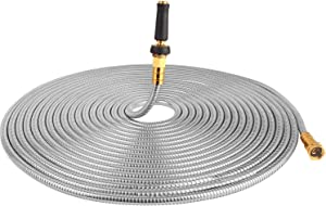 TOUCH-RICH 304 Stainless Steel Garden Hose, Lightweight Metal Hose with Free Nozzle, Guaranteed Flexible and Kink Free (75FT, Stainless)