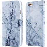 iPhone 6 Wallet Case,DICHEER Slim Thin Vintage Leather Marble Flower Folio Flip Book Wallet Stand Up Credit Card Holder Case With Magnetic Clasp Closure&Strap for iPhone 6 4.7''-30