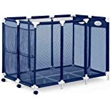 XXL Rolling Pool Storage Bin Cart - Pool and Ball Storage Organizer with Nylon Mesh Basket   Hold Beach Towels, Linens, Float