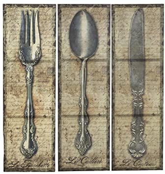 Vintage Kitchen Silverware Canvas Wall Art, Spoon Knife Fork, 3 Pc