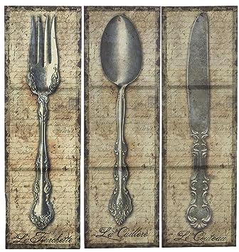 Vintage Kitchen Silverware Canvas Wall Art, Spoon Knife Fork, 3 Pc