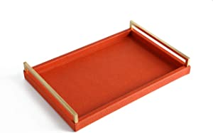 WV Coffee Table Decorative Tray Orange PU Leather with Gold Leaf Metal Handles (Havana Orange)