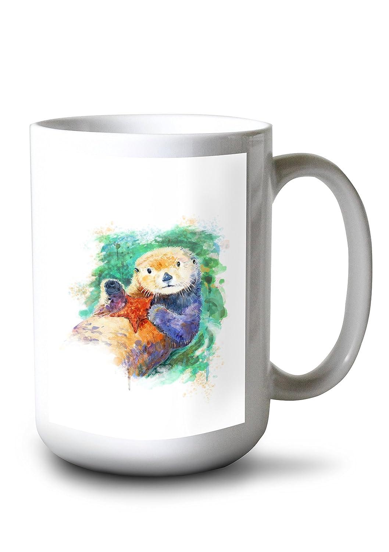 Sea Otter – 水彩 15oz Mug LANT-3P-15OZ-WHT-81876 B077RYJFY3  15oz Mug