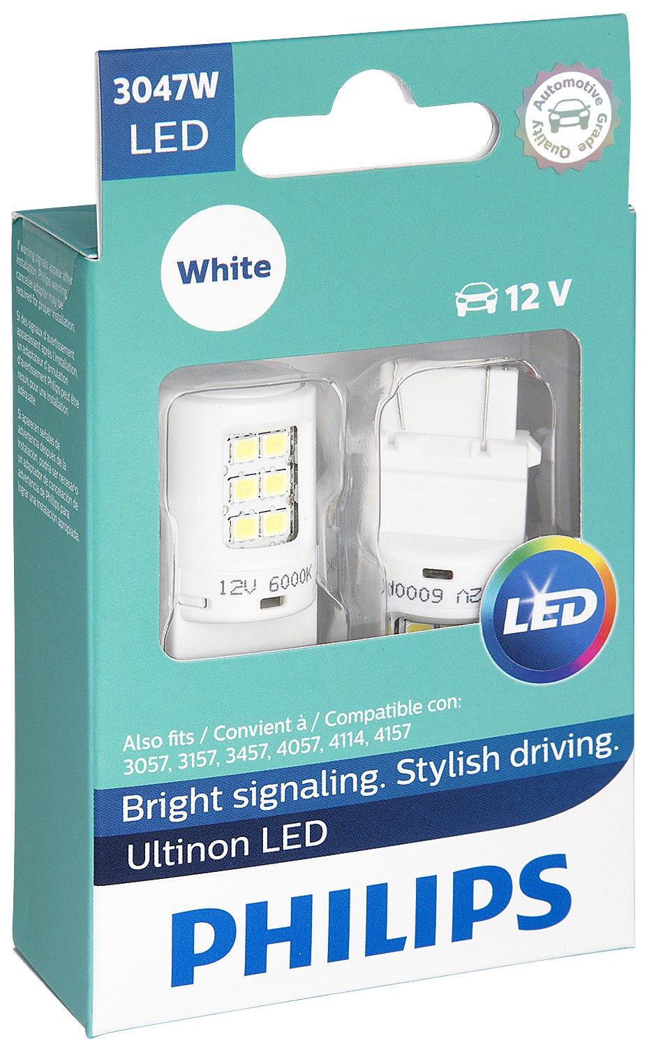 2 Pack White Philips 3047 Ultinon LED Bulb