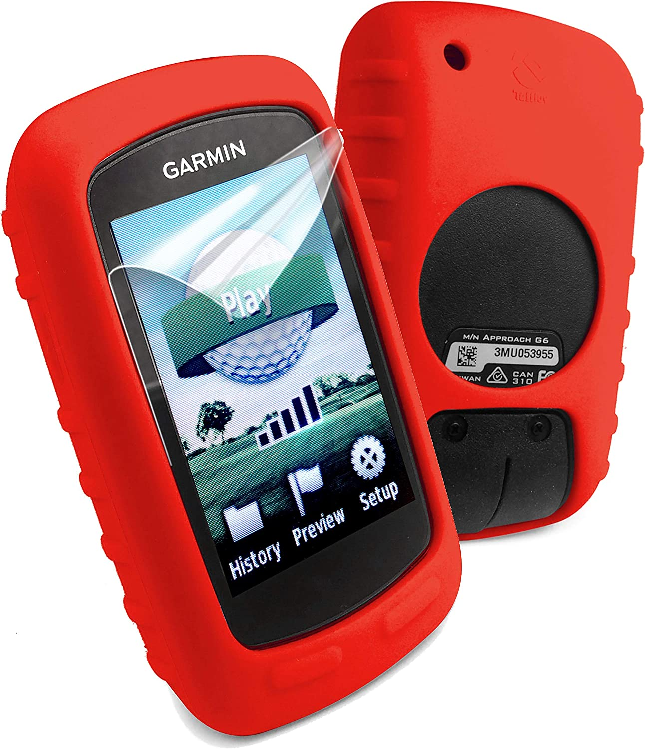 Tuff Luv Silicone Gel Skin Case Cover for Garmin Edge 800//810 and Screen Protector Red