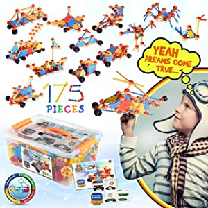 Kids Education Construction--Connecting Building Toys for Kids, 175 Piece Construction Toys for Boys and Girls Ages 3 4 5 6 7 8 9 10 Years Old Best Engineering Click Interlocking Toys (175-PCs)