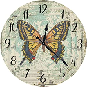 XinsFaith Silent Decorative Wall Clock Mottled Wall Butterfly Vintage 10 Inch Wall Decor Arabic Numerals for Bedroom Living Room Kitchen Frameless