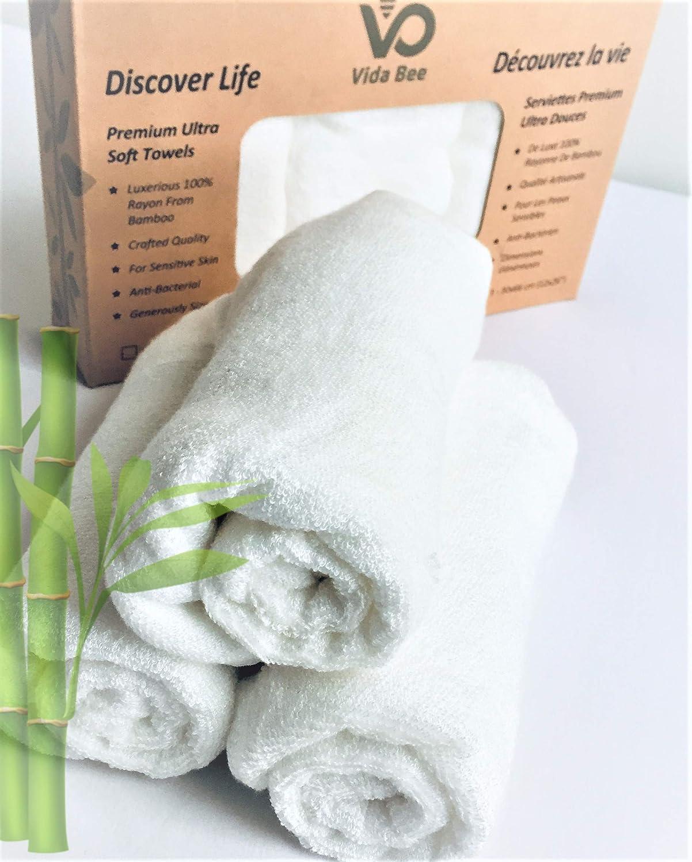 Vida Bee Antibacterial Natural Bamboo | Softer Than Cotton Towels | Sensitive Skin, Babies | 60% Larger | White_ Serviettes Plus Douces que de Coton | Peaux Sensibles, Bébés | 60% Plus Grand | Blanc Procurement Circle Inc.