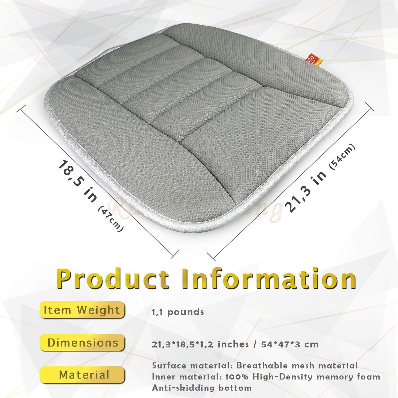 Khaki RaoRanDang Car Seat Cushion Pad for Home Use Car Driver Seat Office Chair Pain Relief Memory Foam Seat Cushion with Non Slip Bottom Seat Cushion