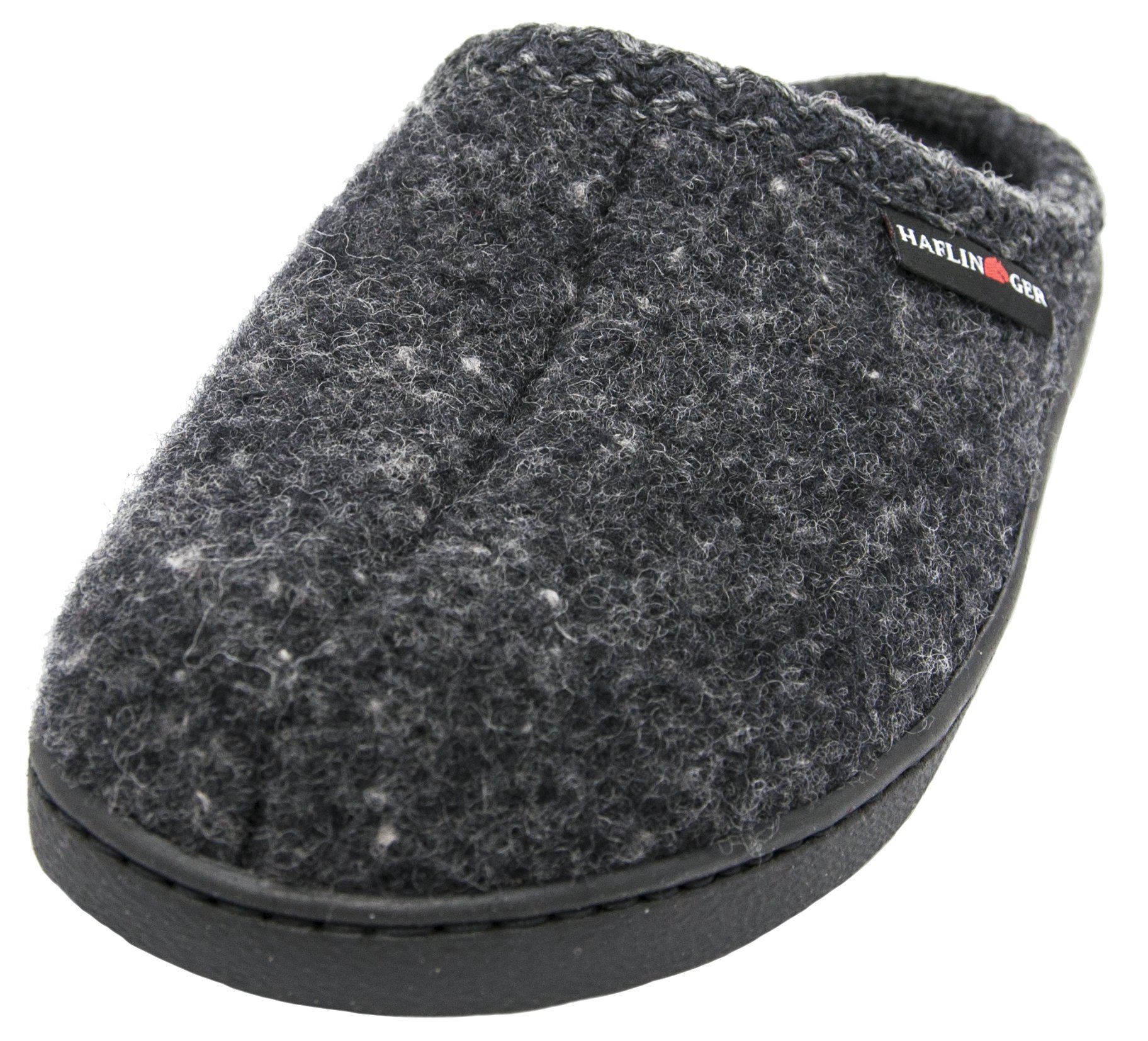 Haflinger Unisex AT Boiled Wool Hard Sole Slipper (42 M EU / 11 B(M) US, Dark Grey Speckle)