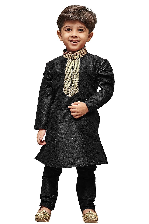 JBN Creation Boys Black Cotton Silk Kurta Pyjama Set VASBKBL013nPBL